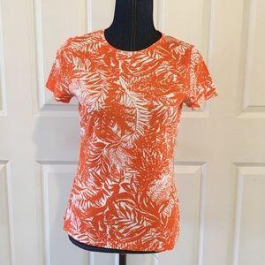 Talbots womens orange floral top short sleeves
